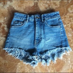 Zara Denim Blue Cut Off Shorts